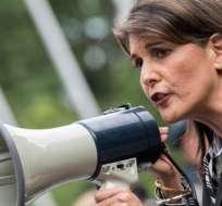 La embajadora estadounidense Nikki Haley en la protesta contra el gobierno de Maduro en Nueva York.
