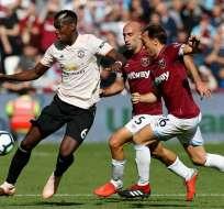 LONDRES, Reino Unido.- Paul Pogba estuvo lejos de su mejor nivel en este partido contra el West Ham United. Foto: AFP