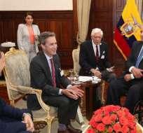 Moreno y KAye conversaron en Carondelet. Foto: Presidencia del Ecuador