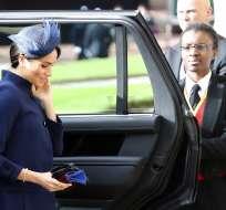 Meghan, duquesa de Sussex, llega a la boda de la princesa Eugenia y Jack Brooksbank en la Capilla de San Jorge. Foto: AP