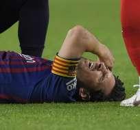 El argentino sufrió una caída que afectó su brazo derecho. Foto: LLUIS GENE / AFP