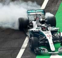 Hamilton celebró su quinto título mundial. Foto: AFP