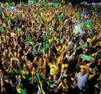 Celebración frente al Congreso Nacional en Brasilia Foto: AFP