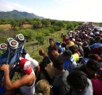 Caravana de migrantes Foto: AP
