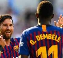 Leo Messi ya se encuentra restablecido de una fractura en el brazo. Foto: AFP