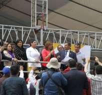 Transportistas de Pichincha protestaron con una marcha hasta la Asamblea. Foto: API