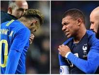 El brasileño tiene una elongación y el francés una contusión. Foto: Anne-Christine POUJOULAT, Glyn KIRK / AFP