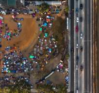 Caravana migrante de centroamericanos se reagrupa en Tijuana. Foto: AFP - Referencial
