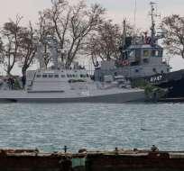 Las naves capturadas por Rusia son nuevo motivo de tensión en la región. Foto: AFP