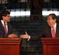 QUITO, Ecuador.- Cancilleres de Ecuador y Colombia en el marco del VII Gabinete Binacional. Foto: API.