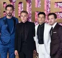 Gwilym Lee, Ben Hardy, Rami Malek y Joseph Mazzello durante el estreno mundial de la cinta. Foto: AFP.