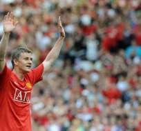 Gunnar Solskjaer jugó durante 11 años en el club inglés. Foto: AFP
