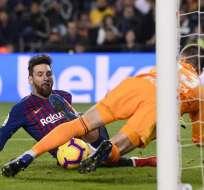 BARCELONA, España.- Messi sentenció la victoria del F.C. Barcelona sobre el Celta 2-0. Foto: AFP