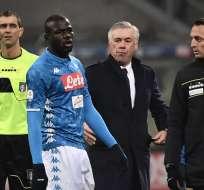 Koulibaly fue expulsado del partido entre el Inter y el Napoli este 26 de diciembre. Foto: AFP