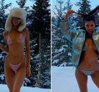 Kendall Jenner y Kourtney Kardashian sorprenden al posar en bikini en medio de la nieve. Foto: Instagram