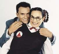 """Natalia Streignard y Juan Pablo Raba, en una foto de archivo en la que interpretan a sus personajes en """"Mi gorda bella""""."""