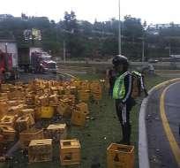 Usuarios en redes sociales reportan que existe congestión vehicular desde la av. Interoceánica a la Ruta Viva. Foto: ATM Quito