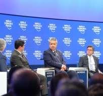 DAVOS, Suiza.- El presidente Moreno ha sido objeto de críticas por los hechos violentos de Ibarra. Foto: Secom.