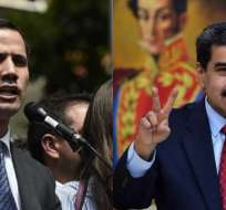 VENEZUELA.- Los presidentes se confrontan a la misma hora, uno desde Chacao y otro desde su despacho. Collage: Ecuavisa