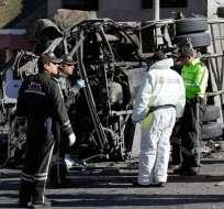 Bus con droga se accidentó en 2018 en vía Pifo-Papallacta y dejó 23 muertos. Foto: Archivo