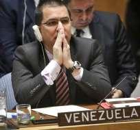 NUEVA YORK, EE.UU.- El canciller de Venezuela, Jorge Arreaza, rechaza cualquier injerencia en los asuntos internos de la nación.