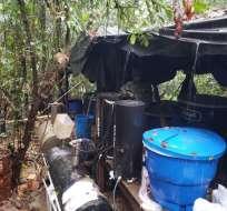 El cristalizadero estaba al mando de un grupo disidente de las FARC. Foto:  @FuerzaAereaCol