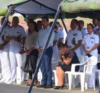 GUAYAQUIL, Ecuador.- Familiares y miembros de la Marina asistieron a esta ceremonia religiosa. Foto: API