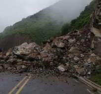 Vía Cuenca-Girón-Pasaje, km 95, cerrada por deslizamiento. Foto: MTOP
