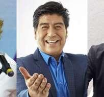 Viteri registra el 52.81 %, Yunda el 21.35% y Palacios el 28.05 %. Collage: Ecuavisa