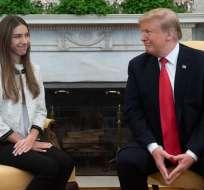 WASHINGTON, EE.UU.- Fabiana Rosales, esposa de Guaidó mantuvo una conversación con Trump. Foto: AFP