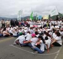 Protestas en Bahía de Caráquez para exigir obras.Foto: Twitter
