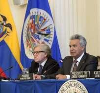 EE.UU.- El presidente de Ecuador intervino en la Sesión protocolar del Consejo Permanente de la OEA. Foto: Secom