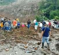 Deslave deja al menos 14 muertos y 5 heridos en Colombia. Foto: AFP