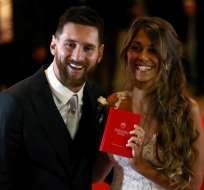 Lionel Messi junto a su esposa, Antonella Roccuzzo.
