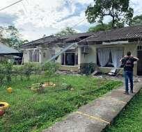 SARAVENA, Colombia.- Así quedó el batallón militar luego de la detonación de explosivos en este municipio fronterizo.