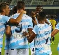 Jugadores del Guayaquil City, celebrando un gol.