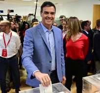 Con el 50% de las papeletas escrutado, el PSOE de Sánchez obtendría 126 de los 350 escaños. Foto: AFP