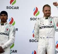 Valtteri Bottas quedó primero por encima de su compañero Lewis Hamilton. Foto: Alexander NEMENOV / AFP