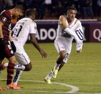 Andrés Chicaiza celebrando el gol ante Flamengo.