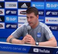 El entrenador de Emelec habló antes de viajar a Colombia. Foto: Archivo