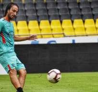 Sebastián Pérez durante una práctica de la semana. Foto: Twitter BSC.