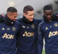 Valencia, Herrera y Bailly en un entrenaamiento.
