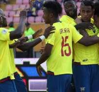 Jugadores de la selección ecuatoriana, celebrando un gol.