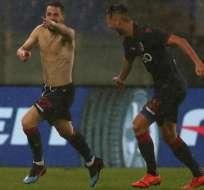 El Bolonia celebra su empate ante la Lazio.
