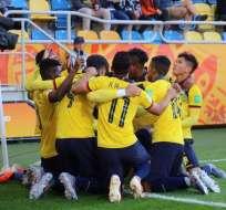 La selección ecuatoriana Sub-20 celebrando una anotación en el Mundial.
