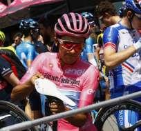 El ciclista ecuatoriano mantuvo su diferencia en la punta a dos etapas del final. Foto: Luk BENIES / AFP