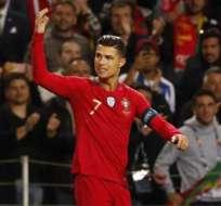 Cristiano celebrando uno de sus tres tantos.
