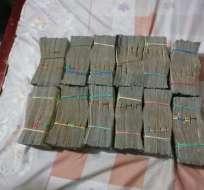 Entre las evidencias constan 400 mil dólares y 4 millones de pesos colombianos. Foto: Cortesía