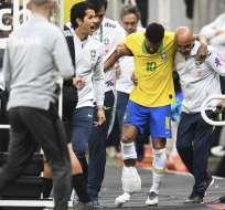 El atacante brasileño sufre una rotura de ligamentos en el tobillo derecho. Foto: EVARISTO SA / AFP