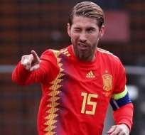 Sergio Ramos tras anotar con su país.